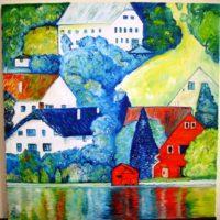 Reproduktion: Klimt – Häuser in Unterach am Attersee